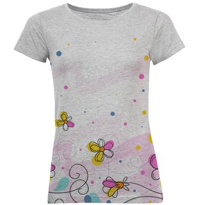 تی شرت آستین کوتاه زنانه طرح گل کد B12