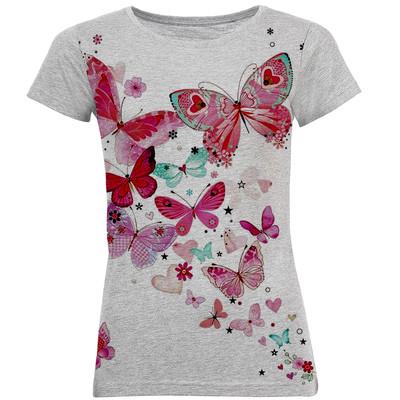 تی شرت آستین کوتاه زنانه طرح پروانه کد B16