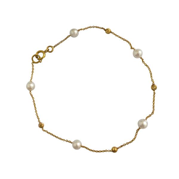 دستبند طلا 18 عیار زنانه الماسین آذر کد Pearl03