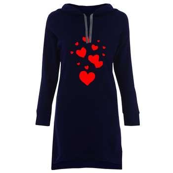 هودی زنانه طرح قلب کد H20 رنگ سورمه ای