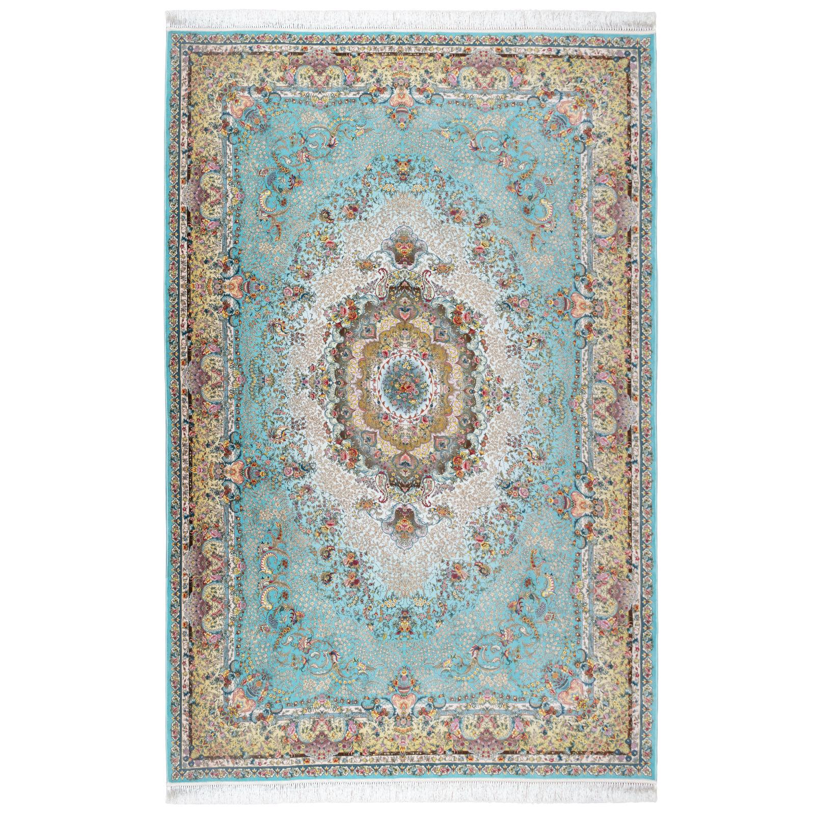 فرش ماشینی محتشم طرح اصیل کد 100900 زمینه فیروزه ای