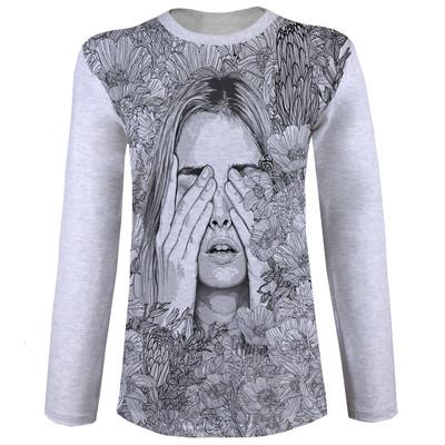 تصویر تی شرت آستین بلند زنانه کد M09