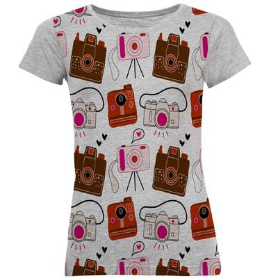 تی شرت آستین کوتاه زنانه طرح دوربین کد B21