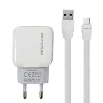 شارژر دیواری کینگ استار مدل KW156 C به همراه کابل تبدیل USB-C