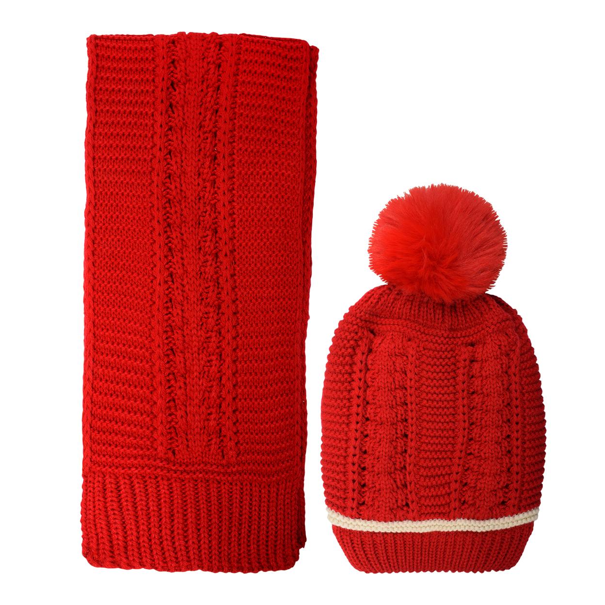 ست کلاه و شال گردن بافتنی دخترانه مدل D4-0215