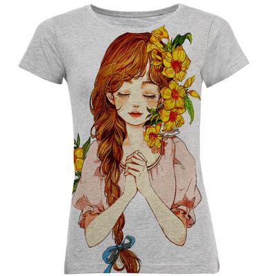 تی شرت آستین کوتاه زنانه طرح گل کد B23