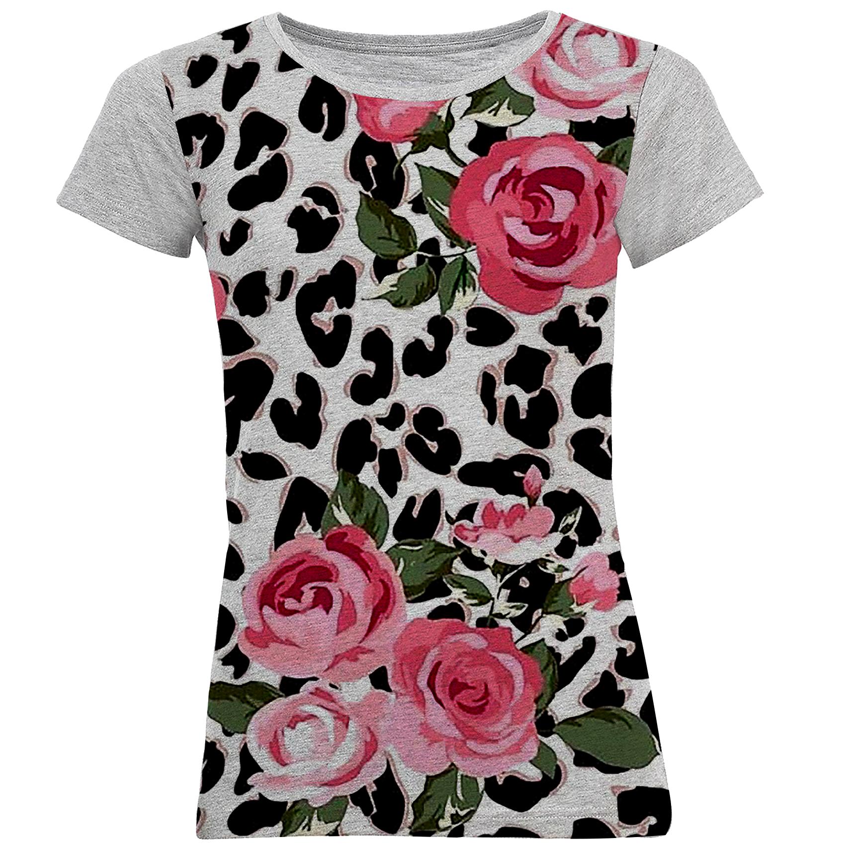 تی شرت آستین کوتاه زنانه طرح گل