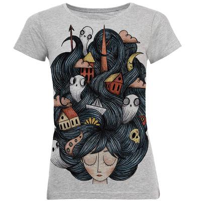 تصویر تی شرت آستین کوتاه زنانه طرح مو پریشون کد B26