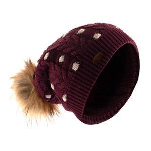 کلاه بافتنی تارتن مدل 80021 رنگ زرشکی