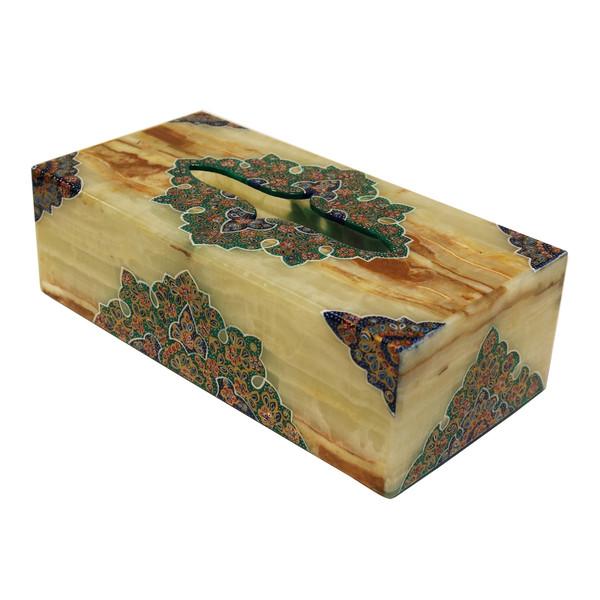 جعبه دستمال کاغذی سنگ مرمر طرح تذهیب فرشی مدل 221107