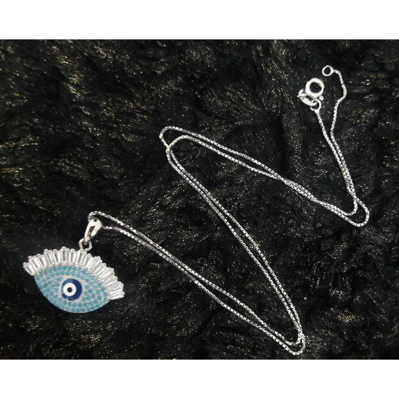 گردنبند نقره زنانه طرح چشم نظر کد 036