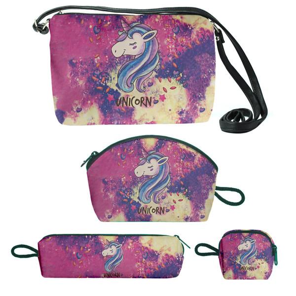 کیف دخترانه طرح یونیکورن مجموعه 4 عددی