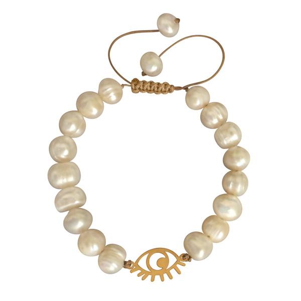 دستبند طلا 18 عیار زنانه الماسین آذر طرح چشم کد laz01