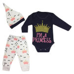 ست 3 تکه لباس نوزادی  طرح پرنسس کد 001