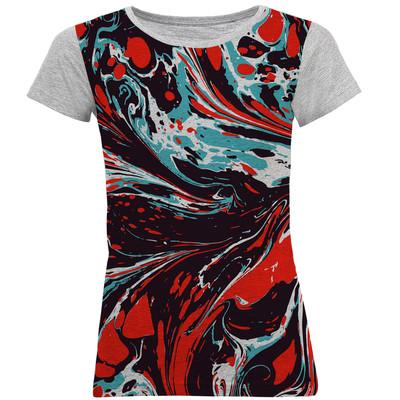 تی شرت آستین کوتاه زنانه طرح رنگارنگ کد B35