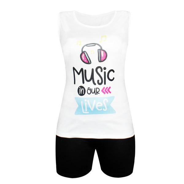 ست تاپ و شلوارک زنانه طرح Music in our Lives کد 1075-001