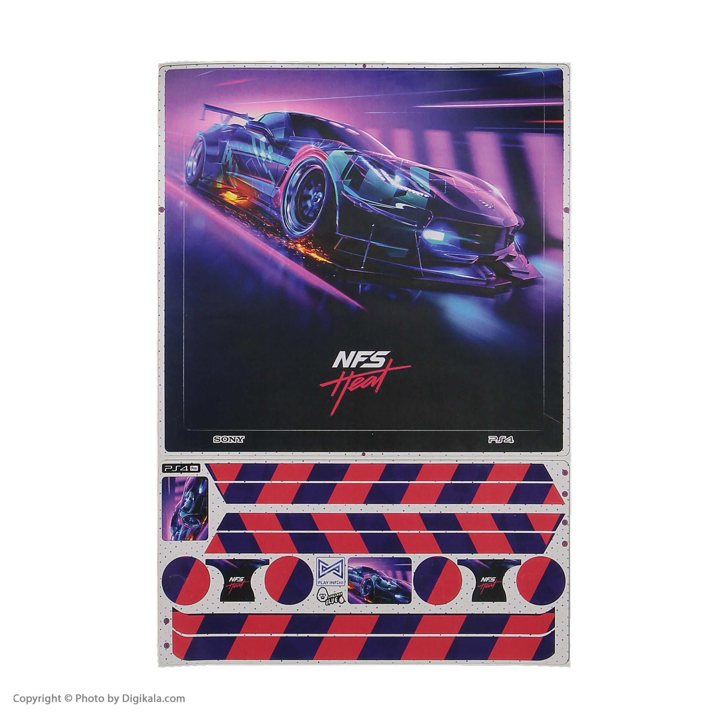 برچسب پلی استیشن 4 پرو پلی اینفینی مدل Need for Speed Heat به همراه برچسب دسته