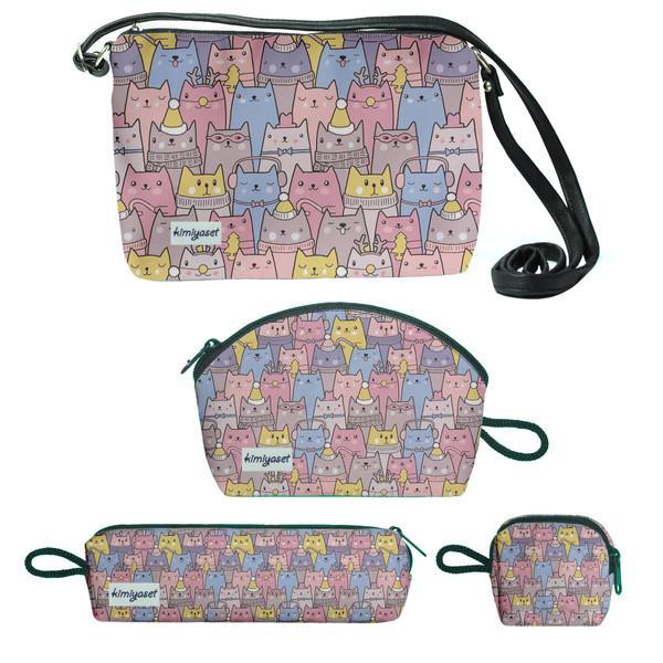 کیف دخترانه طرح گربه مجموعه 4 عددی