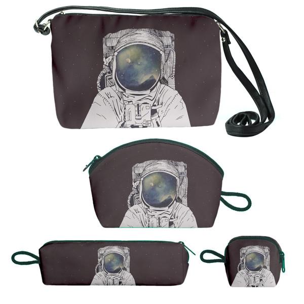 کیف دخترانه طرح فضانورد کد s1  مجموعه 4 عددی