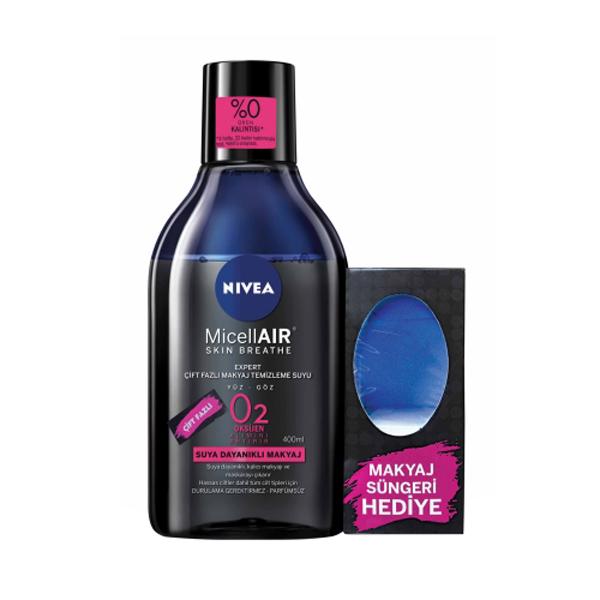 محلول پاک کننده آرایش صورت نیوآ مدل MiceLLAIR حجم 400 میلی لیتر به همراه پد پاک کننده آرایش صورت مدل Makyaj