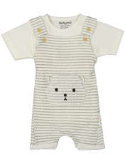 ست سرهمی و تی شرت نوزادی بی بی ناز مدل 1501492-0193 - سفید طوسی - 1