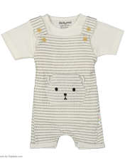 ست سرهمی و تی شرت نوزادی بی بی ناز مدل 1501492-0193 - سفید طوسی - 2