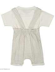 ست سرهمی و تی شرت نوزادی بی بی ناز مدل 1501492-0193 - سفید طوسی - 3