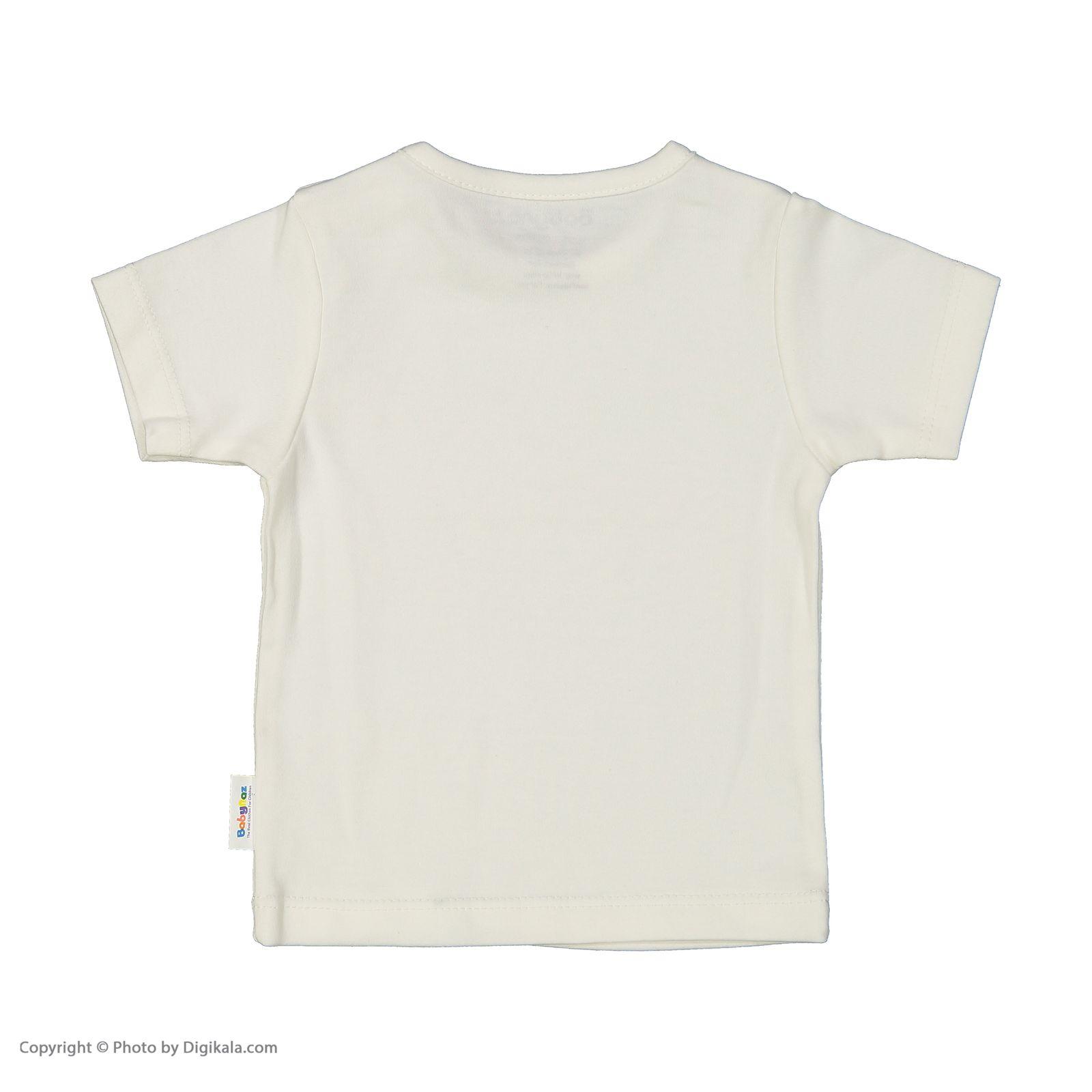 ست سرهمی و تی شرت نوزادی بی بی ناز مدل 1501492-0193 - سفید طوسی - 6
