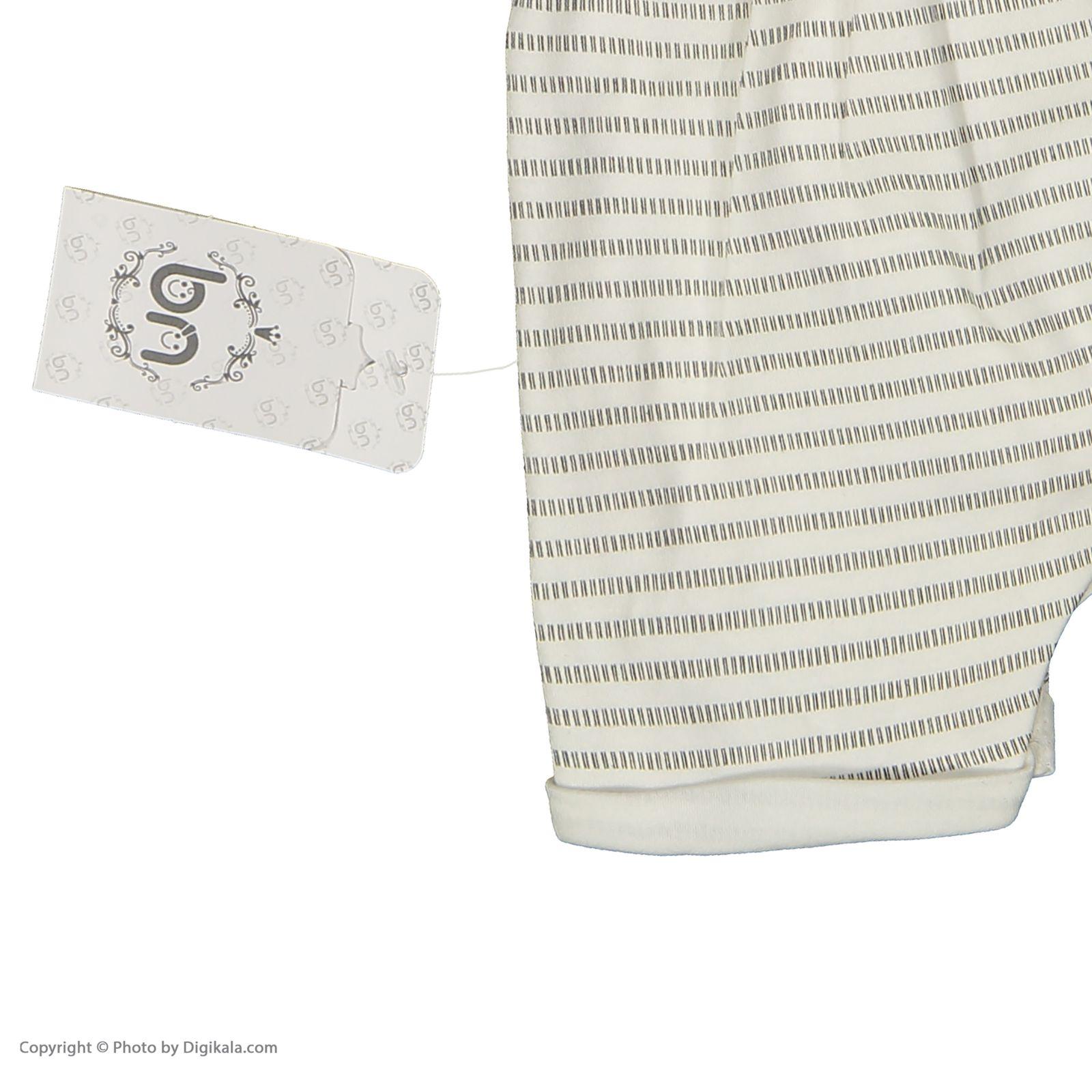 ست سرهمی و تی شرت نوزادی بی بی ناز مدل 1501492-0193 - سفید طوسی - 12