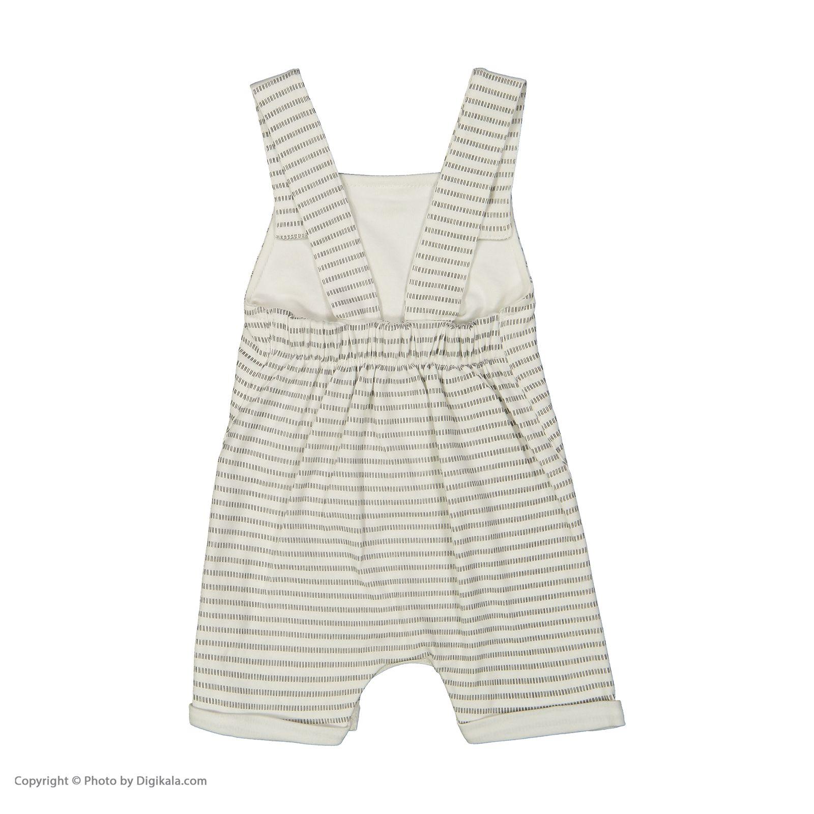 ست سرهمی و تی شرت نوزادی بی بی ناز مدل 1501492-0193 - سفید طوسی - 8