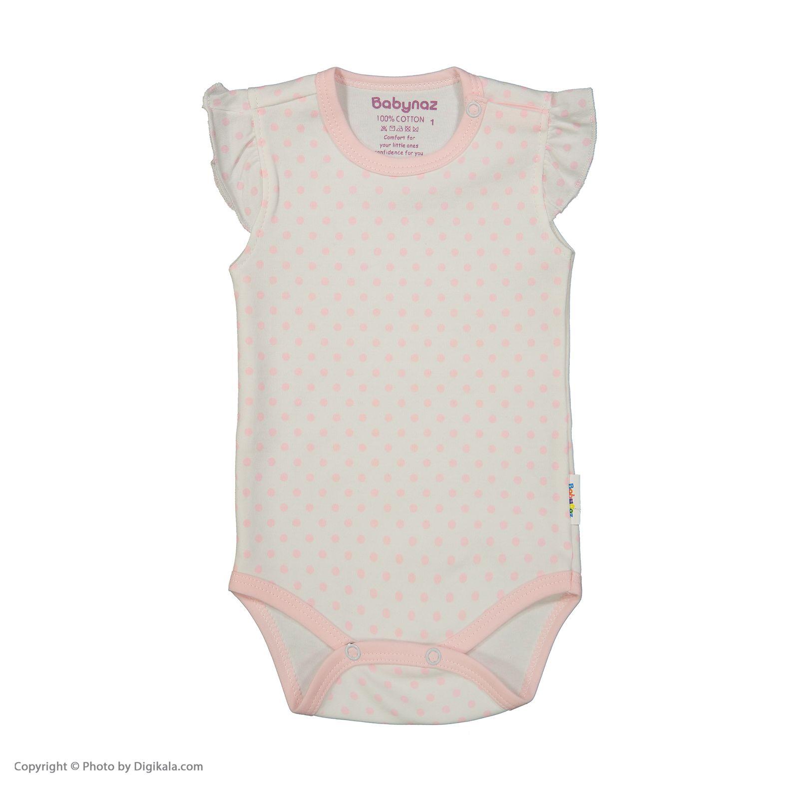 بادی نوزادی دخترانه بی بی ناز مدل 1501476-0184 - سفید صورتی - 1
