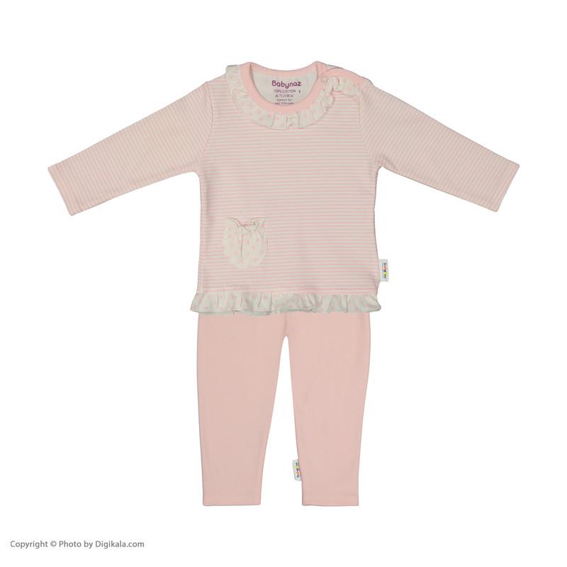 ست بلوز و شلوار نوزادی دخترانه بی بی ناز مدل 1501467-84