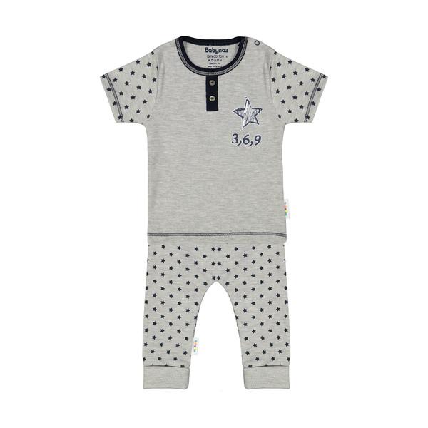 ست تی شرت و شلوار نوزادی بی بی ناز مدل 1501451-90