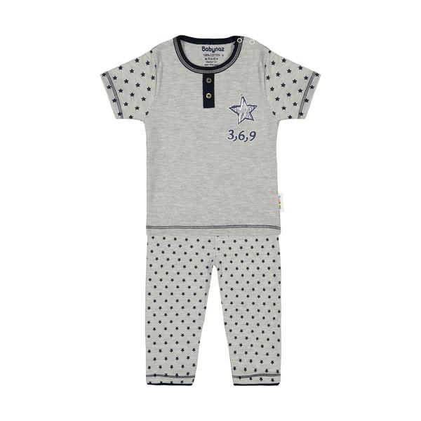 ست تی شرت و شلوار نوزادی بی بی ناز مدل 1501452-90