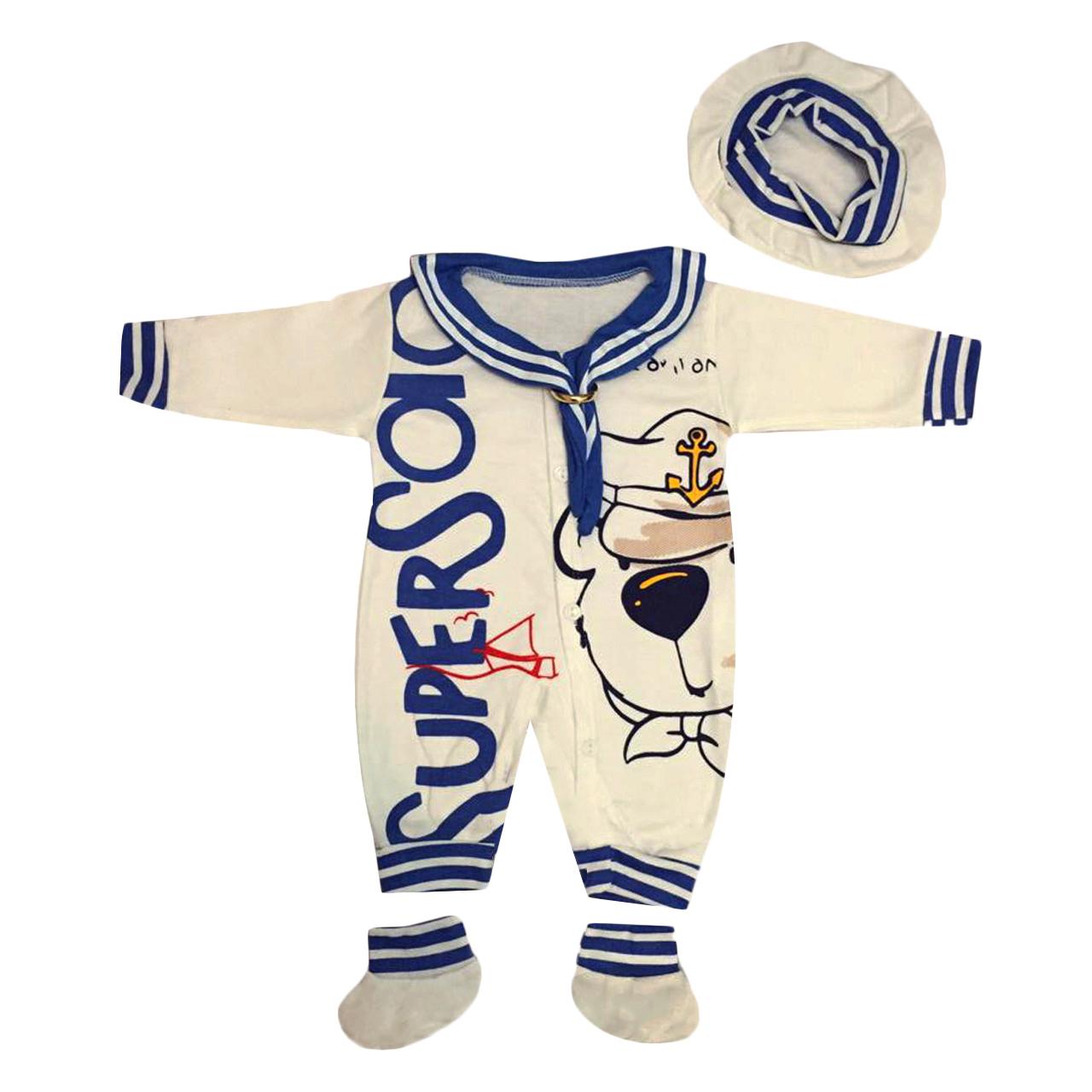 ست 3 تکه لباس نوزاد طرح ملوان کوچک کد 25bl