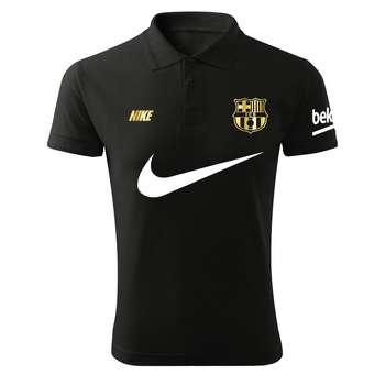 پولوشرت ورزشی مردانه طرح بارسلونا کد Bn1018 رنگ مشکی