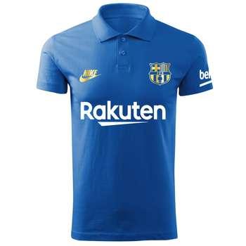پولوشرت ورزشی مردانه طرح بارسلونا کد Ba1020 رنگ آبی