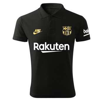 پولوشرت ورزشی مردانه طرح بارسلونا کد Ba1022 رنگ مشکی