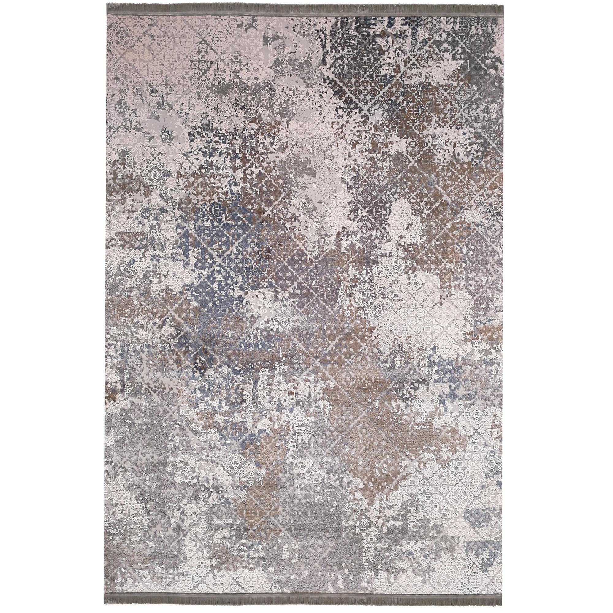 فرش ماشینی زمرد مشهد طرح پتینه کد TA123 زمینه طوسی
