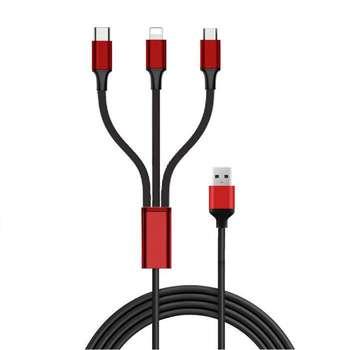 کابل تبدیل USB به USB-C/لایتنینگ/microUSB مدل TC 58 طول 1 متر