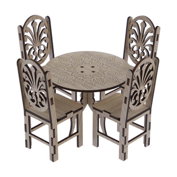 ماکت دکوری طرح میز و صندلی ناهار خوری کد NOA_06_014 مجموعه 5 عددی