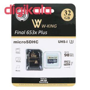 کارت حافظه microSDHC دبلیو کینگ مدل Final 653xplus کلاس 10 استاندارد UHS-I U3 سرعت 98MBs ظرفیت 32