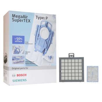 کیسه جاروبرقی مگا ایر مدل 101014P بسته 4 عددی به همراه فیلتر هپا و هوا مناسب برای جاروبرقی های سری P بوش و زیمنس