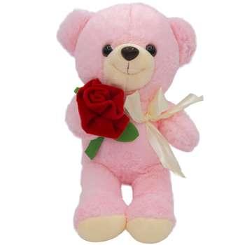 عروسک طرح خرس گل رز ارتفاع 28 سانتی متر