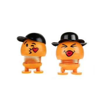 عروسک فنری طرح ایموجی کلاه دار مدل F2 مجموعه 2 عددی