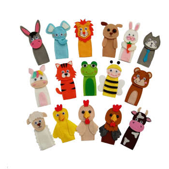 عروسک انگشتی مدل حیوانات جنگل کد 16 مجموعه 16 عددی