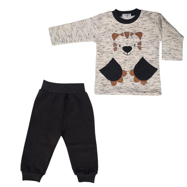 ست تی شرت آستین بلند و شلوار نوزادی پولونیکس طرح پلنگ کد 31906