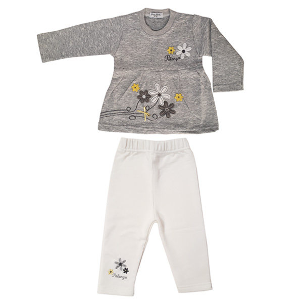 ست تی شرت آستین بلند و شلوار نوزادی پولونیکس طرح گل کد 31907