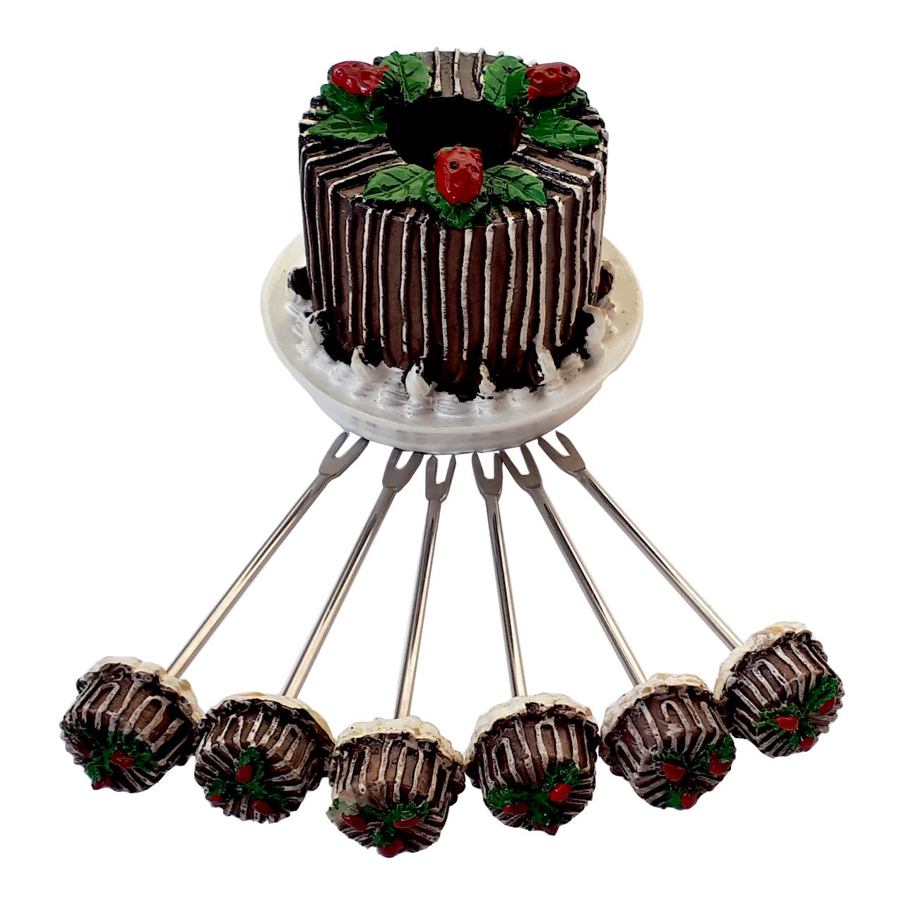 زیتون خوری مدل کیک شکلاتی مجموعه 7 عددی