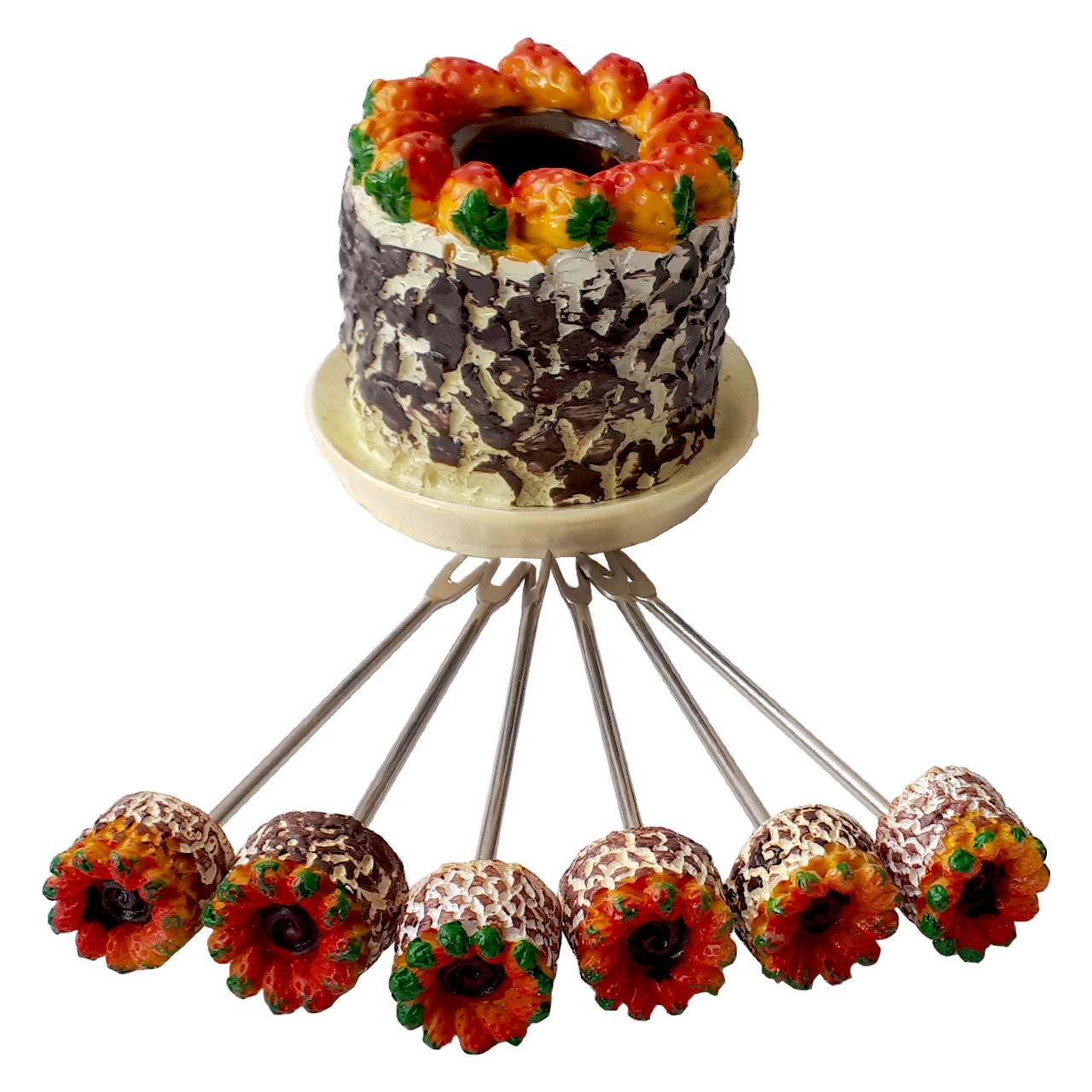 عکس زیتون خوری طرح کیک توت فرنگی مجموعه 7 عددی